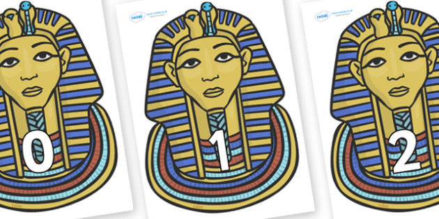 Numbers 0-50 on Mummy Masks - 0-50, foundation stage numeracy, Number recognition, Number flashcards, counting, number frieze, Display numbers, number posters