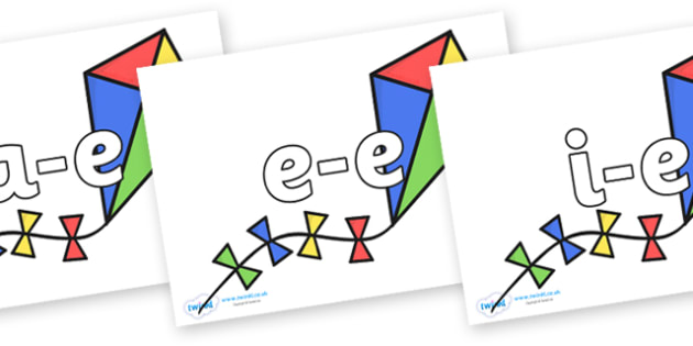 Modifying E Letters on Kites - Modifying E, letters, modify, Phase 5, Phase five, alternative spellings for phonemes, DfES letters and Sounds