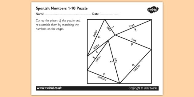 Puzzle de números de 1 a 10 en inglés - números, puzzle