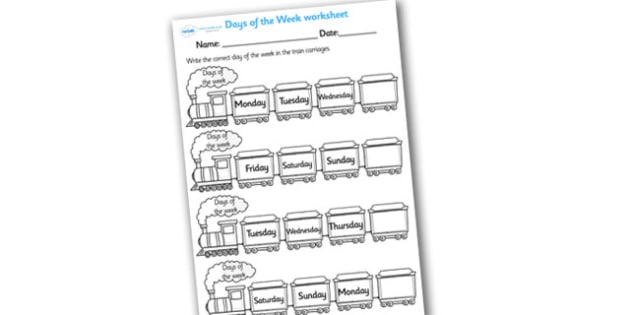 Days of the Week on Trains Worksheet - days of the week on trains worksheet, days of the week worksheet, days of the week fill in the blanks, days