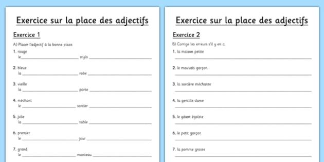 La place des adjectifs Activity Sheet French - french, La place, des adjectifs, adjectives, language, worksheet