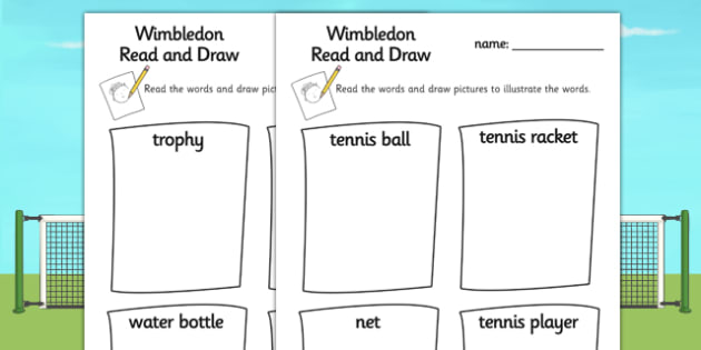 Wimbledon Tennis Read and Draw Worksheet - tennis, sports, pe