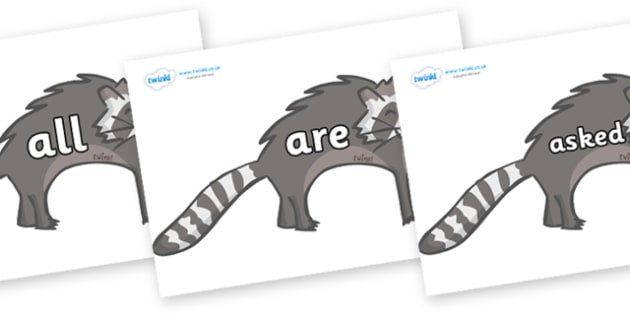 Tricky Words on Raccoons - Tricky words, DfES Letters and Sounds, Letters and sounds, display, words