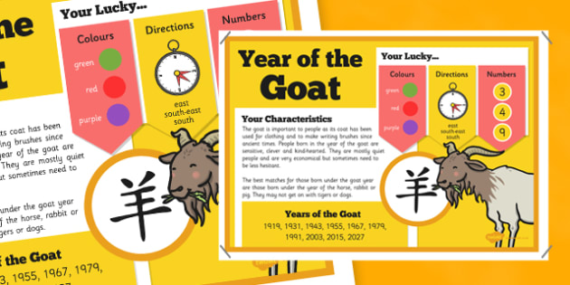 Chinese New Year of the Goat or Sheep Display Poster - chinese new year, display poster, information, year of the goat, year of the sheep
