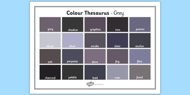 Colour Thesaurus Word Mat Grey - colour thesaurus, colour, thesaurus, word mat, word, mat, grey