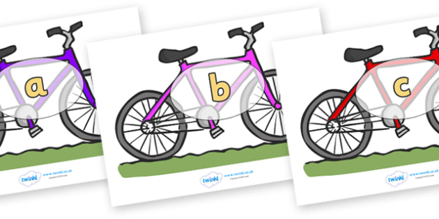 Phase 2 Phonemes on Bicycles - Phonemes, phoneme, Phase 2, Phase two, Foundation, Literacy, Letters and Sounds, DfES, display
