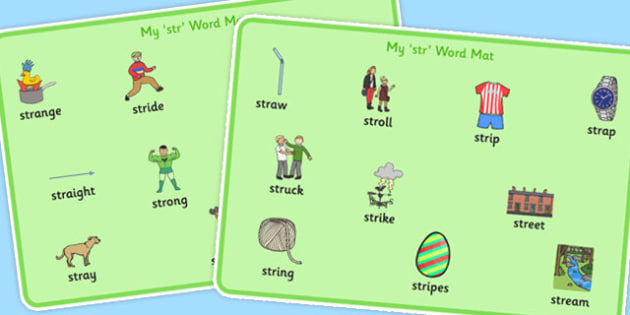 STR Word Mats - speech sounds, phonology, articulation, speech therapy, cluster reduction, complex clusters, three element clusters