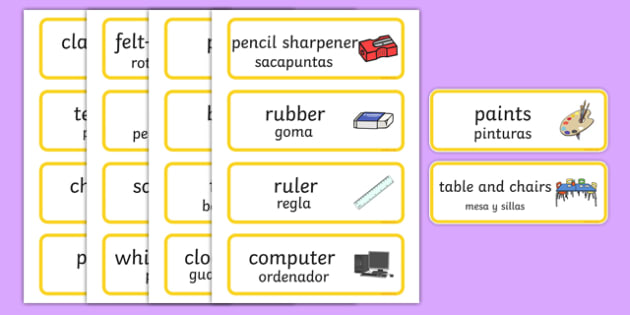 Classroom Word Cards Spanish Translation--translation