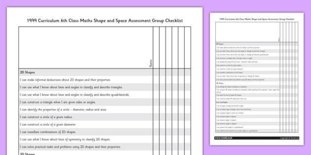 1999 Curriculum 6th Class Maths Shape and Space Assessment Group Checklist - roi, gaeilge, ireland, republic of ireland