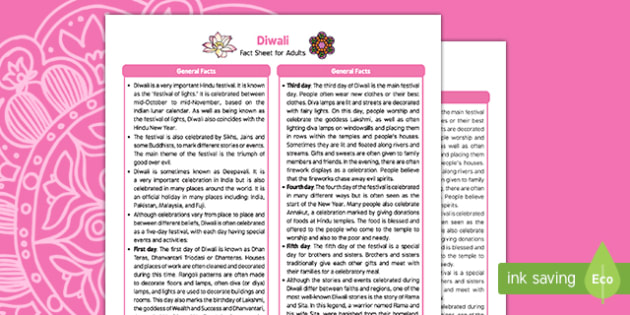 Diwali Fact Sheet for Adults - Early Years, EYFS, KS1, festivals, celebration, diva lamps, Hinduism, festival of lights