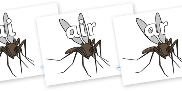Phase 3 Phonemes on Mosquitos - Phonemes, phoneme, Phase 3, Phase three, Foundation, Literacy, Letters and Sounds, DfES, display