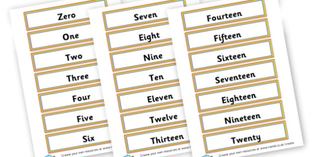 Word Numbers Cards - Number Digit Cards & Fans Primary Resources, numeracy, flashcards