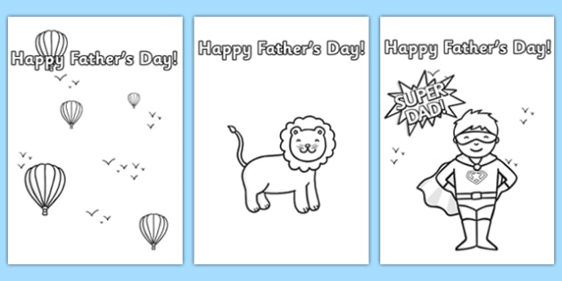 Father's day card templates colouring - father, dad, colour in