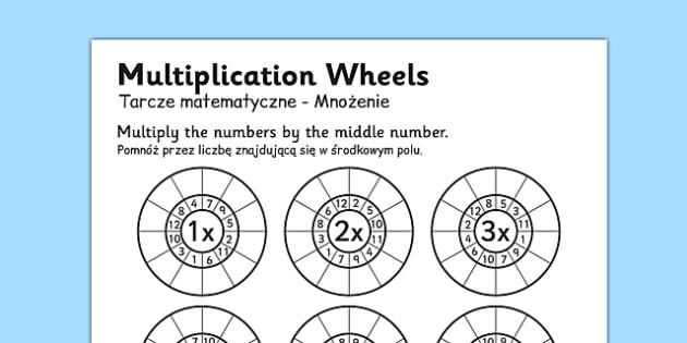 Multiplication Wheels Worksheet Polish Translation - maths, times tables, bilingual