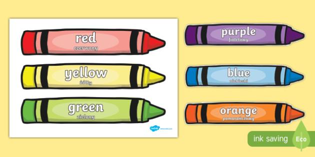 Colour Words on Crayons Polish Translation - bilingual, display