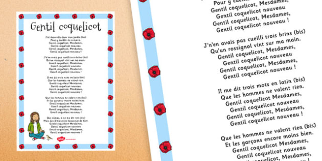 Comptine Gentil Coquelicot Lyric Poster French - french, comptine, gentil coquelicot, lyrics, poster, display