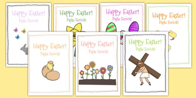 Easter Card Templates Romanian Translation - romanian, Design, Easter card, Easter activity, card, fine motor skills, card template, bible, egg, Jesus, cross, Easter Sunday, bunny, chocolate, hot cross buns