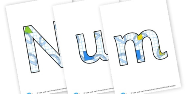 Numeracy Objectives - display lettering - Maths Area Primary Resources, maths is fun, signs, labels, areas