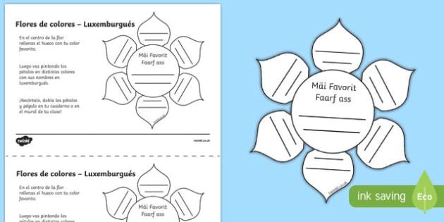 Ficha de actividad Flores de colores - luxemburgués