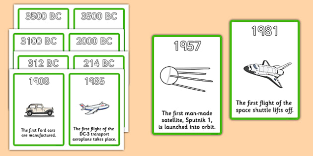 History Of Transport Timeline Cards - Transport, A4, display, posters, car, van, lorry, bike, motorbike, plane, aeroplane, tractor, truck, bus