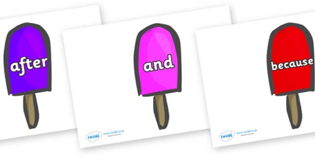 Connectives on Ice Lollies - Connectives, VCOP, connective resources, connectives display words, connective displays