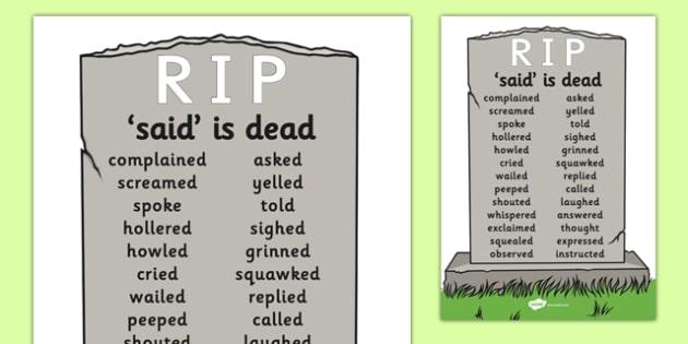 Said is Dead Display - said is dead, alternative words for said, alternative words, display poster, word posters, alternative word poster