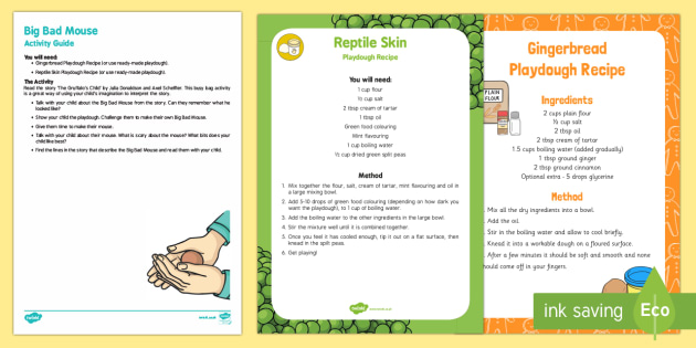 Big Bad Mouse Playdough Busy Bag Resource Pack for Parents to Support Teaching on The Gruffalo's Child