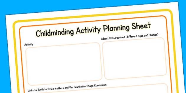 Childminding Activity Planning Sheet - child minder, activity