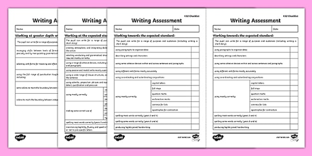 Y6 Writing Assessment Checklist Exemplification - test, diagnostic, summative, formative