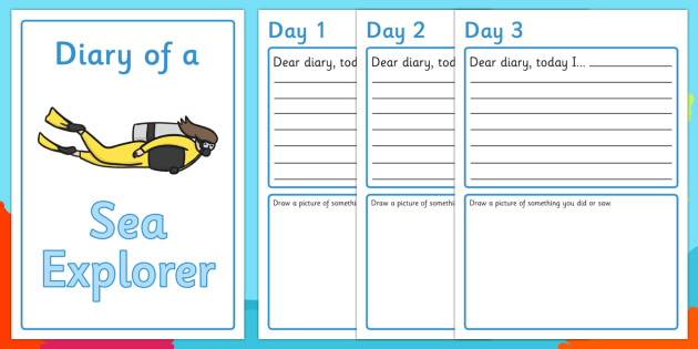 Sea Explorer Diary Writing Frames (Under the Sea) - sea explorer writing frames, under the sea writing frames, under the sea diary, sea explorer diary, under the sea