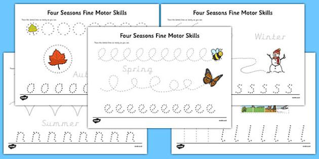 Four Seasons Fine Motor Skills Activity Sheet Pack - four seasons, fine motor skills, worksheet