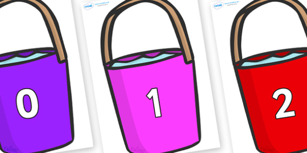 Numbers 0-31 on Buckets - 0-31, foundation stage numeracy, Number recognition, Number flashcards, counting, number frieze, Display numbers, number posters