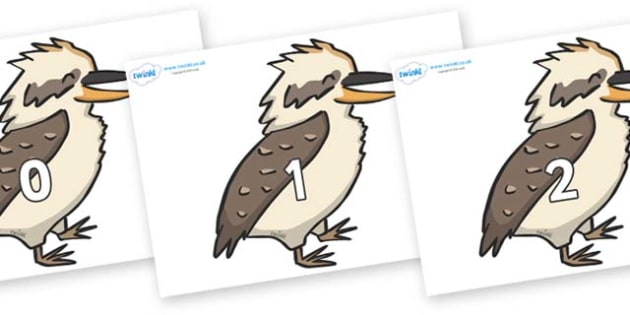 Numbers 0-31 on Kookaburras - 0-31, foundation stage numeracy, Number recognition, Number flashcards, counting, number frieze, Display numbers, number posters