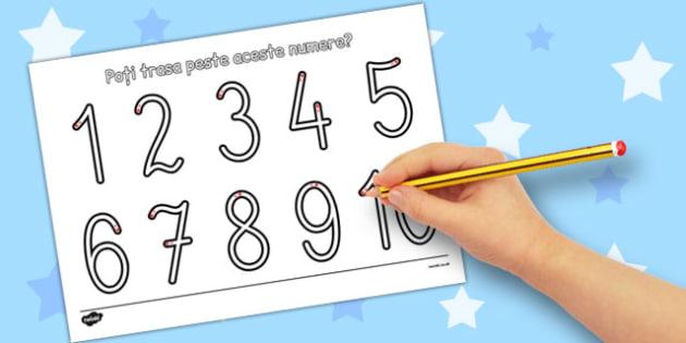Formarea cifrelor - fise, 0,1,2,3,4,5,6,7,8,9, clasa pregatitoare , Romanian