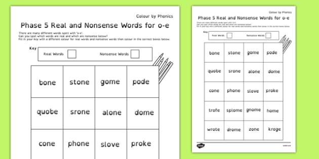 Phase 5 'o-e' Split Digraph Colour by Phoneme Real and Nonsense Words, silent e