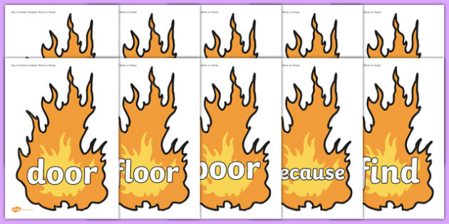 Year 2 Common Exception Words on Flames