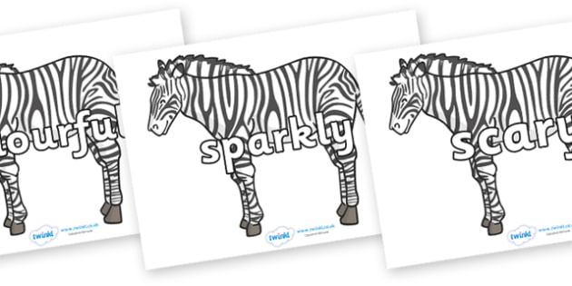 Wow Words on Zebras - Wow words, adjectives, VCOP, describing, Wow, display, poster, wow display, tasty, scary, ugly, beautiful, colourful sharp, bouncy