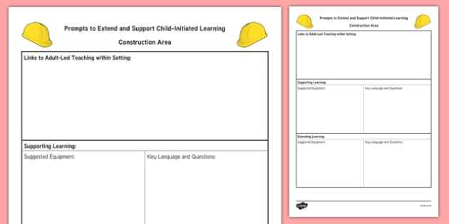 Construction Area Adult Support Prompt Sheet Template - EYFS Continuous Provision Plans, enhancements