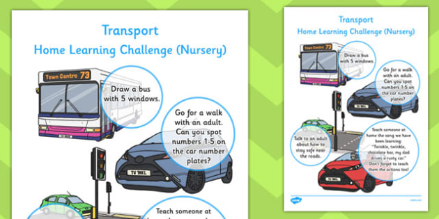 EYFS Transport Themed Home Learning Challenge Sheet Nursery FS1
