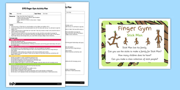 EYFS Finger Gym Plan and Prompt Card Pack to Support Teaching on Stick Man- eyfs, stick man, finger gym, plan, prompt, card, pack