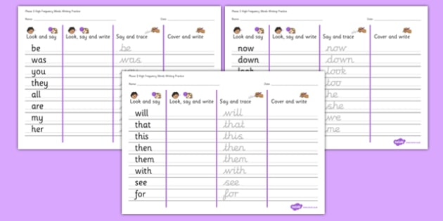 Phase 3 High Frequency Words Writing Practice Worksheets - phase