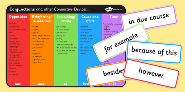 Correct Conjunctions Word Cards - connectives, Connectives, Cards