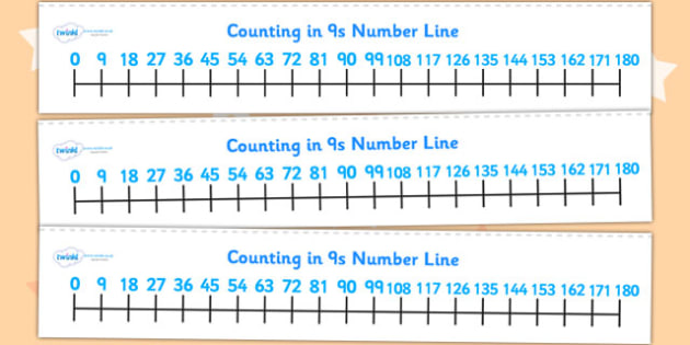 Counting In 9s Number Line - count, counting aid, maths, numeracy