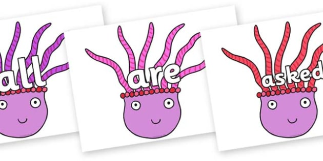 Tricky Words on Anemone to Support Teaching on Sharing a Shell - Tricky words, DfES Letters and Sounds, Letters and sounds, display, words