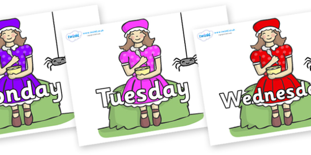 Days of the Week on Little Miss Muffet - Days of the Week, Weeks poster, week, display, poster, frieze, Days, Day, Monday, Tuesday, Wednesday, Thursday, Friday, Saturday, Sunday