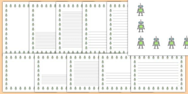 Robot Portrait Page Borders- Portrait Page Borders - Page border, border, writing template, writing aid, writing frame, a4 border, template, templates, landscape