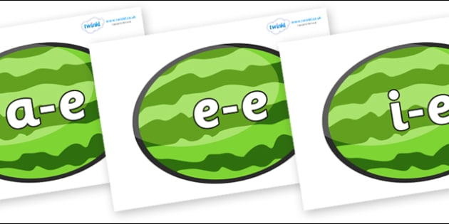 Modifying E Letters on Melons (Horizontal) - Modifying E, letters, modify, Phase 5, Phase five, alternative spellings for phonemes, DfES letters and Sounds