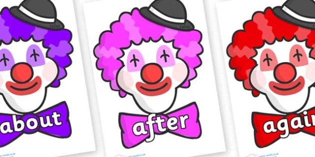 KS1 Keywords on Clown Faces - KS1, CLL, Communication language and literacy, Display, Key words, high frequency words, foundation stage literacy, DfES Letters and Sounds, Letters and Sounds, spelling