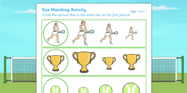 Wimbledon Size Matching Worksheets - tennis, sports, pe, match
