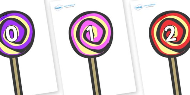 Numbers 0-100 on Lollipops to Support Teaching on The Very Hungry Caterpillar - 0-100, foundation stage numeracy, Number recognition, Number flashcards, counting, number frieze, Display numbers, number posters
